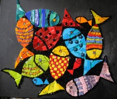 pas à pas mosaïque, tableau mosaïque contemporaine, tableau mosaïque poissons, pâte de verre albertini