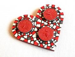 bougeoir coeur mosaïqué, bougeoir coeur mosaiqué, bougeoir coeur mosaic, bougeoir 3 bougies, Saint-Valentin