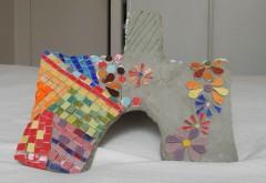 sculpture, chat, sculpture chat, grillage, mosaïque, fillasse, plâtre, décoration