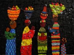 tableau mosaïque, tableau mosaïque contemporaine, tableau mosaïque moderne, tableau sur l'afrique, tableau décoration, tableau déco, afrique, Mali, bamako