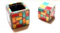 boîte à crayons mosaïque, pot à crayons mosaïque, objet décoratif en mosaïque pour bureau, boîte à pinceaux mosaïque, boîte mosaïque pour salle de bains, littlemarket