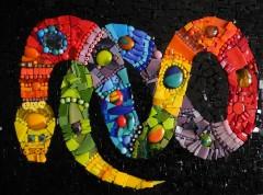 tableau mosaïque contemporaine,tableau mosaïque moderne,serpent en mosaïque,vente sur alm,pâtes de verre albertini