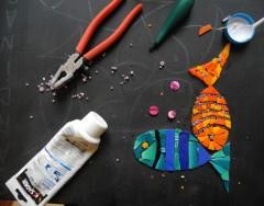 pas à pas mosaïque, tableau mosaïque contemporine, mosaïque poissons, pâte de verre albertini