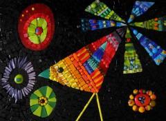 tableau mosaïque, tableau oiseau soleil, tableau oiseau multicolore, pâtes de verre albertini
