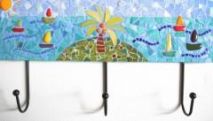 patère mosaîque, patère mosaique 3 crochets, décoration chambre enfant, déco chambre enfant, fusing, émaux de briare