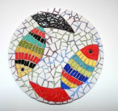 dessous de plats mosaïque figurative, dessous de plats mosaïque poissons, dessous de plat mosaïque, décoration poisson