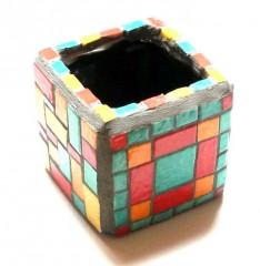 boîte à crayons mosaïque, pot à crayons mosaïque, objet décoratif en mosaïque pour bureau, boîte à pinceaux mosaïque, boîte mosaïque pour salle de bain, littlemarket