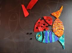 pas à pas mosaîque, tableau mosaïque contemporaine, tableau mosaïque poissons, pâte de verre albertini