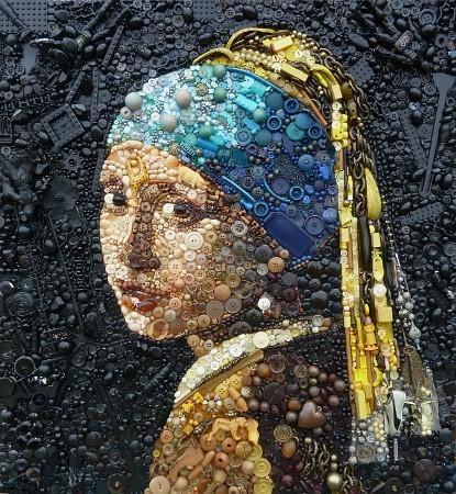 jeune fille à la perle, peinture flamande, légo, boutons perles, mosaique