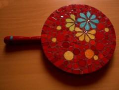 dessous de plat, fleur, confettis, ronds, cuisine, salle à manger, émaux de briare, joint, mosaïque
