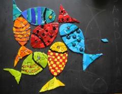 pas à pas mosaïque, tableau mosaïque contemporaine, tableau mosaïque poisson