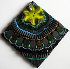 tableau mosaïque dentelle,tableau mosaic contemporain,tableau mosaïque moderne,smalts,bouton céramique,grès cérame,millefioris,perles,little market