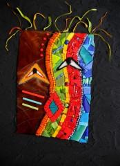 tableau mosaïque contemporaine, tableau mosaïque moderne, tableau mosaïque portrait, tableau mosaïque masque, tableau mosaïque dieu de la forêt, smalts, pâte de verre, cimment teinté