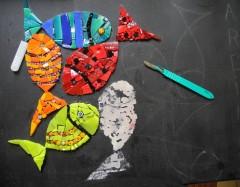 pas à pas mosaïque,tableau mosaïque poissons,pâte de verre albertini