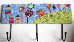 patère mosaïque 3 crochets, patère mosaïque enfant, patère mosaïque campagne, émaux de briare, décoration chambre enfant, vente, littlemarket