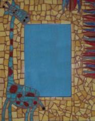 cadre, mosaïque, émaux de briare, millefioris, joint, pâtes de verre, verre, décoration, maison, enfants, girafe