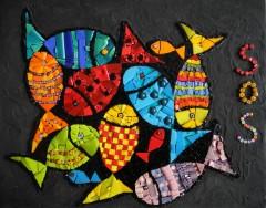 tableau mosaïque contemporain, tableau mosaïque poissons, écologie, sos océan, pâte de verre albertini, smalts, millefioris, tableau mosaïque moderne