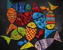 pas à pas mosaïque, tableau mosaïque poissons, tableau mosaïque contemporaine, pâte de verre albertini