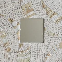 monochrome, miroir, émaux de briare, grès cérame, perles, millefioris, joint, smalt, verre albertini,