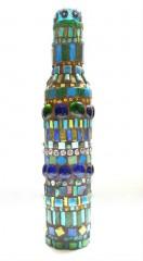 bouteille décoration,bouteille mosaïque,soliflore