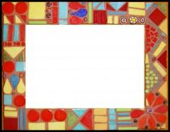 cadre, mosaïque, émaux de briare, millefioris, joint, pâtes de verre, verre, décoration, maison, motifs géométriques, bleu, jaune, rouge