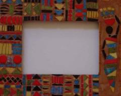 cadre, mosaïque, émaux de briare, millefioris, joint, pâtes de verre, verre, décoration, maison