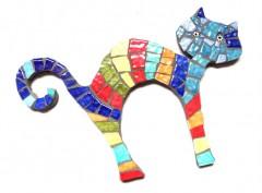 chat en mosïque décoratif, chat rayé en mosaïque, chat décoratif en mosaïque, chat décoration chambre d'enfant, objet décoratif en mosaïque, littlemarket