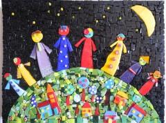 tableau mosaïque contemporaine, tableau mosaïque moderne, tableau mosaïque naïve, tableau mosaïque fraternité, si tous les gars du monde