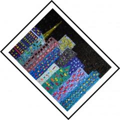 tableau mosaïque contemporaine,tableau mosaïque moderne,lumière dans la nuit,pâte de verre albertini