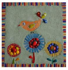tableau mosaïque enfant, tableau mosaïque fleurs, tableau mosaïque oiseau, tableau mosaïque contemporaine, tableau mosaïque moderne, tableau mosaïque chambre d'enfant, cadeau de naissance, déco enfant, little market, fusing, émaux de briare