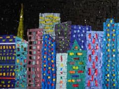 tableau mosaïque contemporaine, tableau mosaïque moderne, lumière dans la nuit, mosaïque, mosaic, pâte de verre albertini