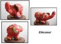 sculpture, grillage, fillasse, ciment, plâtre, création, décoration, éléphant